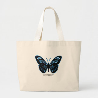 Flutterby Black Blue Glow Large Tote Bag