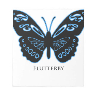 Flutterby Black Blue Glow Notepad
