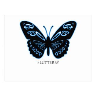 Flutterby Black Blue Glow Postcard