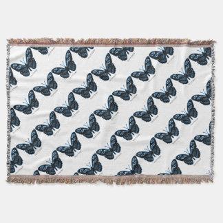 Flutterby Black Blue Glow Throw Blanket