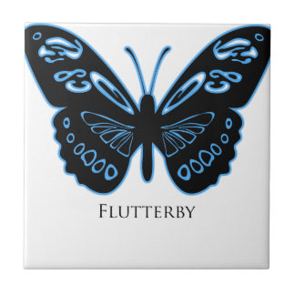 Flutterby Black Blue Glow Tile