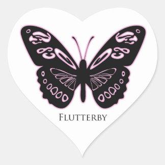 Flutterby Black Pink Glow Heart Sticker