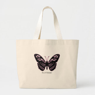 Flutterby Black Pink Glow Large Tote Bag
