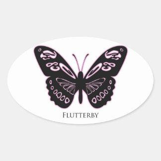Flutterby Black Pink Glow Oval Sticker