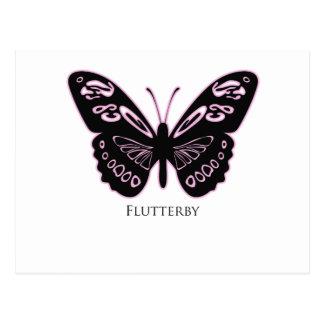 Flutterby Black Pink Glow Postcard