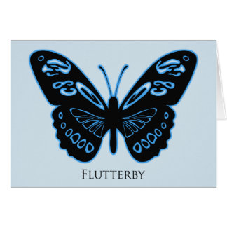 Flutterby Blue Glow Greetings Card