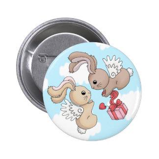 Flutterby Love Bunnies Badge - Clouds 2 Inch Round Button