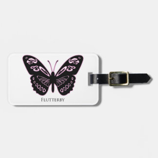 Flutterby Pink Glow Luggage Tag