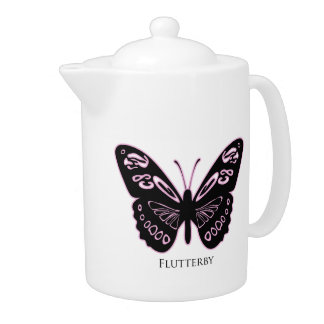 Flutterby Pink Glow White Teapot