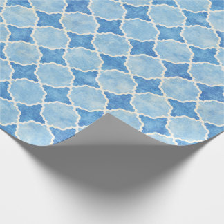 Flutterby Winter Geometric Blue Wrapping Paper