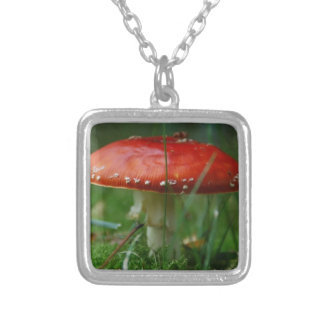 Fly agaric silver plated necklace