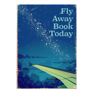 Fly Away Book Today vintage flight poster
