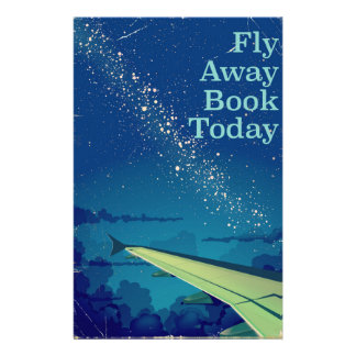 Fly Away Book Today vintage flight poster Stationery