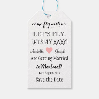 Fly Away Destination Wedding Save The Date Tags