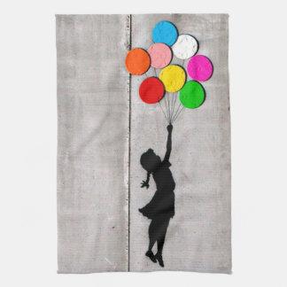Fly Away Little Girl Graffiti Art Dish Towel