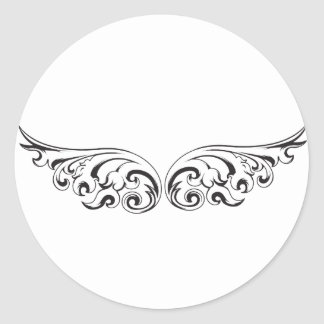 Fly away with these wings round sticker