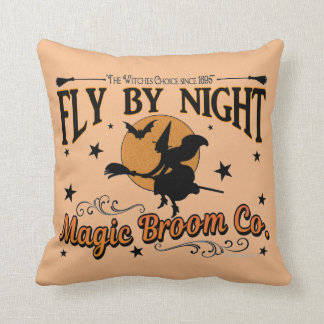 Fly by Night Magic Broom Co.  With Spider Web Throw Pillow