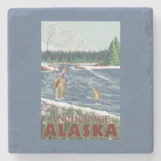 Fly Fisherman - Anchorage, Alaska Stone Beverage Coaster