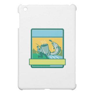 Fly Fisherman Catching Salmon Mug Rectangle Retro iPad Mini Cover
