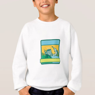 Fly Fisherman Catching Salmon Mug Rectangle Retro Sweatshirt