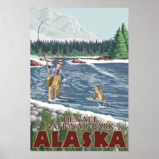 Fly Fisherman - Denali National Park, Alaska Poster