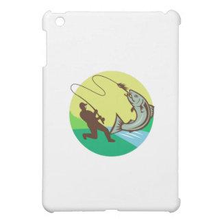 Fly Fisherman Hooking Salmon Circle Rero iPad Mini Covers