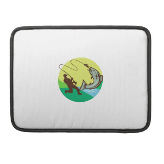 Fly Fisherman Hooking Salmon Circle Rero Sleeves For MacBook Pro