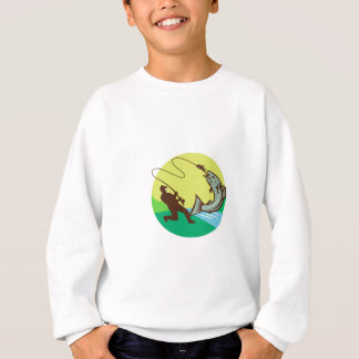Fly Fisherman Hooking Salmon Circle Rero Sweatshirt