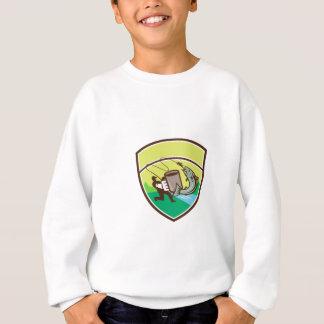 Fly Fisherman Mug Salmon Crest Retro Sweatshirt