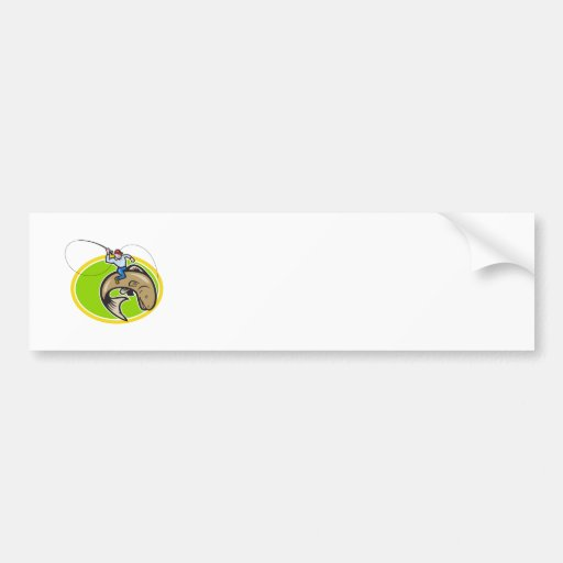 Fly Fisherman Riding Trout Fish Cartoon Bumper Sticker