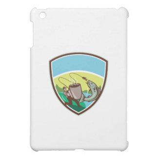 Fly Fisherman Salmon Mug Crest Retro Cover For The iPad Mini