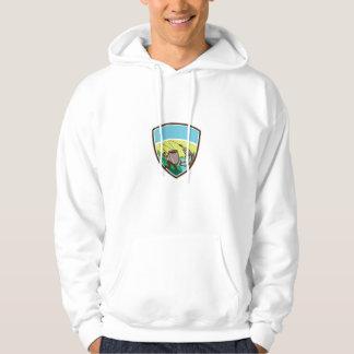 Fly Fisherman Salmon Mug Crest Retro Hoodie