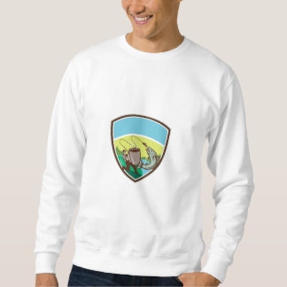 Fly Fisherman Salmon Mug Crest Retro Sweatshirt