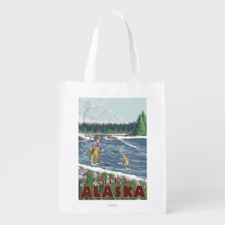 Fly Fisherman - Sitka, Alaska Reusable Grocery Bag