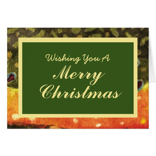 Fly Fishing Brown Trout Skin Christmas Card
