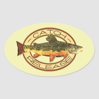 Fly Fishing Catch Release Party Oval Sticker
