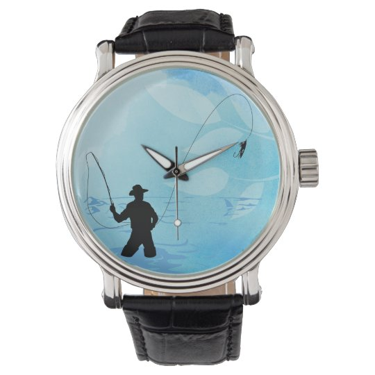 Fly Fishing Fisherman Black Vintage Leather Watch