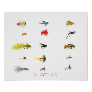 Fly Fishing, Fly Fishing Nymphs, Wet and Dry Fl... Poster