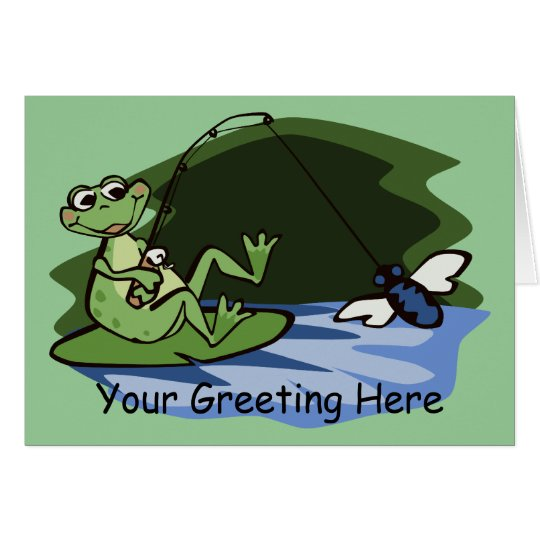 Fly Fishing Frog Greeting Card