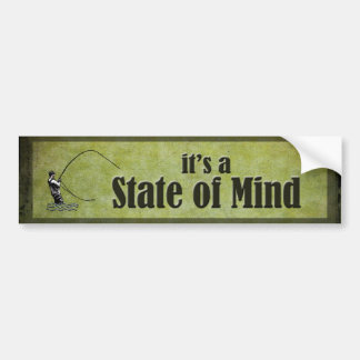 Fly Fishing - it's a State of Mind in Green Bumper Sticker