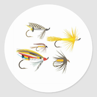 Fly Fishing Lures Classic Round Sticker