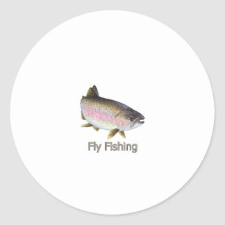 Fly Fishing Rainbow Trout Logo Classic Round Sticker