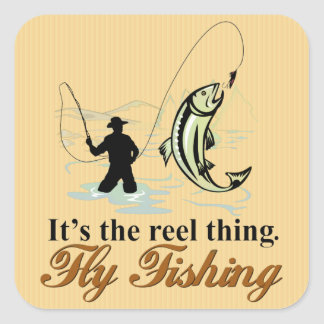 Fly Fishing Reel Thing Square Sticker