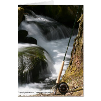 Fly Fishing Rod and Stream Note Card