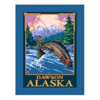 Fly Fishing Scene - Dawson, Alaska Postcard