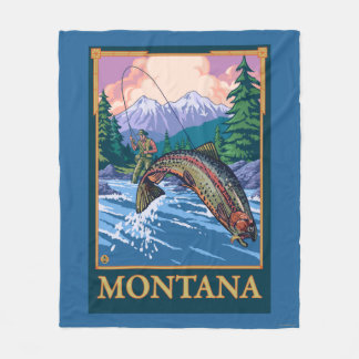 Fly Fishing Scene - Montana Fleece Blanket