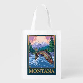 Fly Fishing Scene - Montana Reusable Grocery Bag