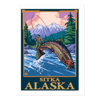 Fly Fishing Scene - Sitka, Alaska Postcard