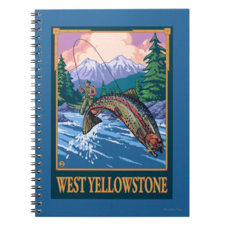 Fly Fishing Scene - West Yellowstone Spiral Notebook