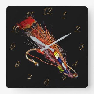 Fly fishing store square wall clock